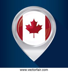 flag of canada in shape pin location