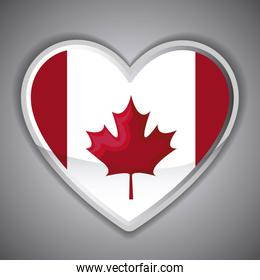 flag of canada in shape of heart