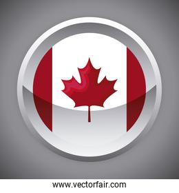 flag of canada in shape circle