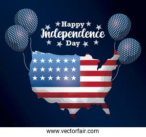 happy independence day card with map