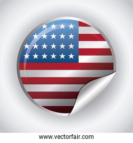 united states of america flag in frame circular