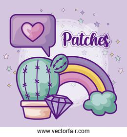 set patches of cactus and icons
