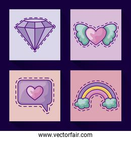 set of patches with diamond and icons