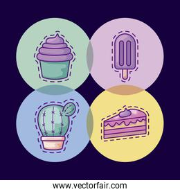 set of patches with cactus in pot plant and icons