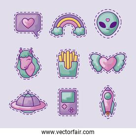 set patches of unicorn with icons