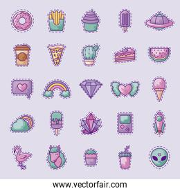 set of sweet donut and icons