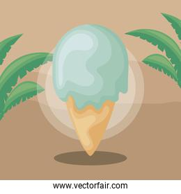 delicious ice cream with leafs nature