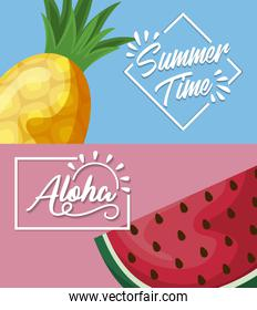 summer poster with pineapple and watermelon fruits
