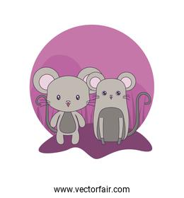 cute mouses animals isolated icon