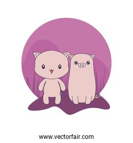 cute pigs animals isolated icon