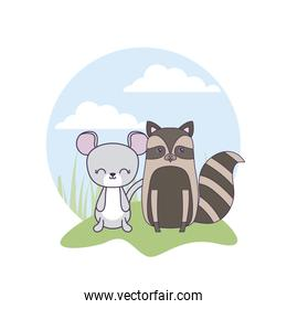cute mouse with raccoon animals in landscape