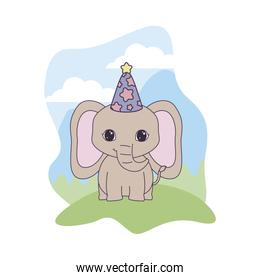 cute elephant animal with hat party in landscape