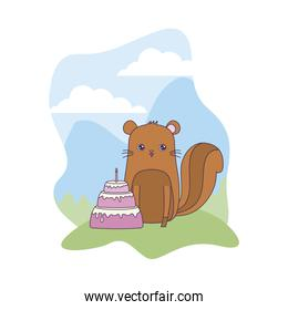 cute chipmunk animal with cake of birthday in landscape