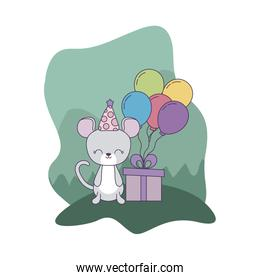 mouse with gift box and balloons helium