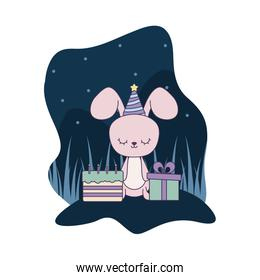 cute rabbit with cake of birthday and gift box