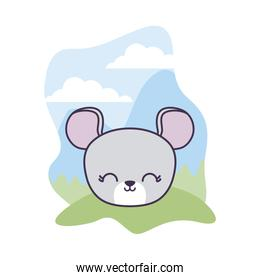 head of cute mouse animal in landscape