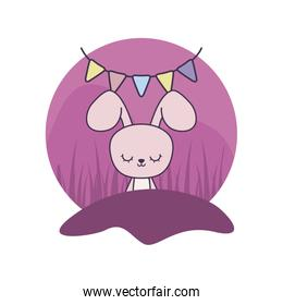 cute rabbit with garlands hanging