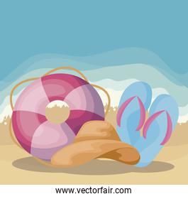 summer beach scene with float and sandals