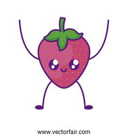 delicious strawberry fruit kawaii character