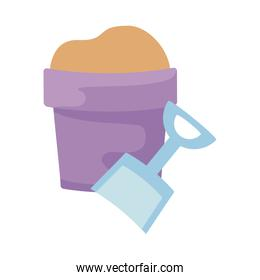 bucket and shovel toy isolated icon