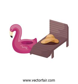 float flemish with chair beach and hat female