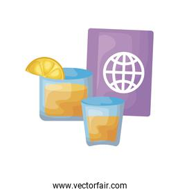 passport with cocktails in glass