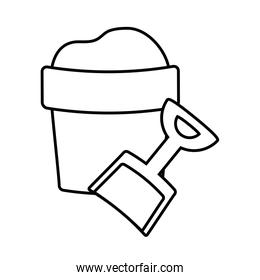 bucket and shovel toy icon over white