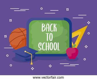 back to school with board and supplies education