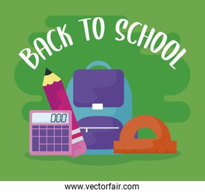 back to school with bag school and set supplies
