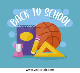 back to school with notebook and supplies education