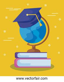 terrestrial globe education with hat graduation and books