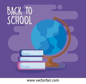 back to school with terrestrial globe with pile of library books