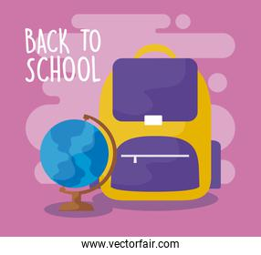 back to school with bagschool and globe terrestrial