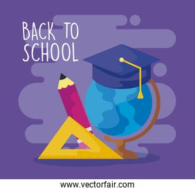 back to school with terrestrial globe and supplies education