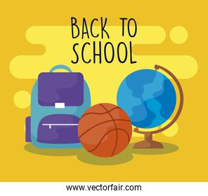 back to school with bagschool and set supplies