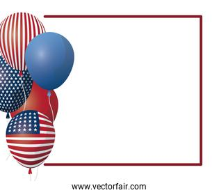 frame with balloons helium of united state american flag