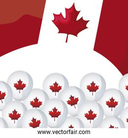 flag of canada with balloons helium