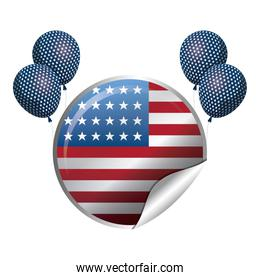 united state of american flag in circle shape with balloons helium