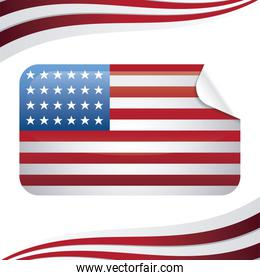 united state of american flag in rectangle shape