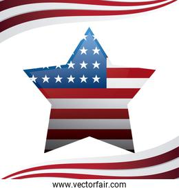 united state of american flag in star shape