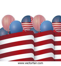 balloons helium with united state of american flag
