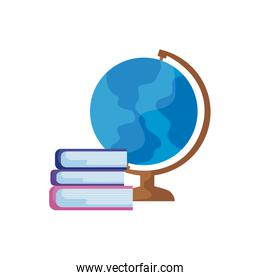pile of library books with terrestrial globe
