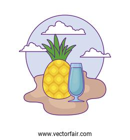 fresh pineapple fruit with juice glass in beach