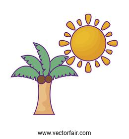 tropical palm with sun isolated icon