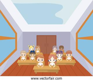 group of students seated in school desks in classroom
