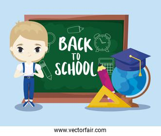 back to school with student boy and supplies education