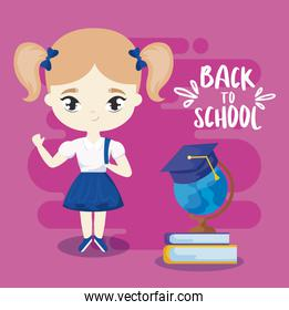 back to school with little student girl and supplies education
