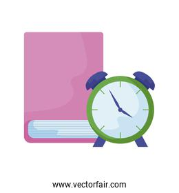 library book with alarm clock time