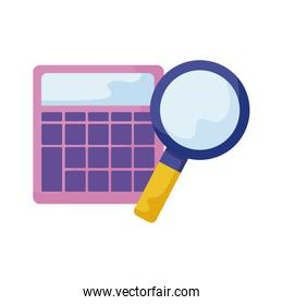 search magnifying glass with calculator