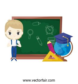 cute little student boy with board and supplies school